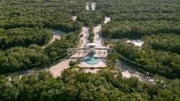 Vista aérea de acceso a Senderos